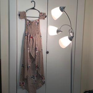 Long, open front, floral dress.
